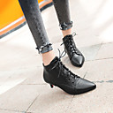 cheap Women's Boots-Women's Fashion Boots Faux Leather Fall & Winter Boots Kitten Heel Pointed Toe Booties / Ankle Boots White / Black / Red