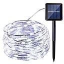 tanie Sztuczny kwiat-HKV 10 m Łańcuchy świetlne 100 Diody LED Ciepła biel / Zimna biel / Czerwony Wodoodporny / Na energię słoneczną / Impreza Zasilanie solarne 1 zestaw