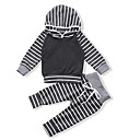 cheap Baby Boys' Clothing Sets-Baby Boys' Casual / Basic Party / Holiday Striped Long Sleeve Regular Regular Cotton Clothing Set Gray 2-3 Years(100cm) / Toddler