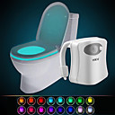 cheap Night Lights-HKV® 16 Color Wireless Human Infrared Activated Motion Sensor PIR LED Toilet Lamp Battery Powered Night Light Home Bathroom