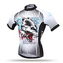 baratos Conjuntos de Bijuteria-XINTOWN Homens Manga Curta Camisa para Ciclismo - Cinzento Lobo Moto Blusas, Respirável Secagem Rápida Redutor de Suor Terylene / Com Stretch