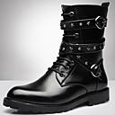 זול מגפיים לגברים-בגדי ריקוד גברים Fashion Boots סינטטיים חורף וינטאג' / יום יומי מגפיים שמור על חום הגוף מגפיים באורך אמצע - חצי שוק שחור / מסיבה וערב