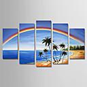 povoljno Slike krajolika-Hang oslikana uljanim bojama Ručno oslikana - Pejzaž Moderna Uključi Unutarnji okvir / Pet ploha / Prošireni platno