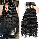 cheap Hair Braids-3 Bundles Malaysian Hair Deep Wave Unprocessed Human Hair / Human Hair Natural Color Hair Weaves / Hair Bulk / Extension / Bundle Hair 8-28 inch Black Natural Color Human Hair Weaves Machine Made