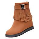 olcso Női csizmák-Női Kényelmes cipők PU Ősz Alkalmi Csizmák Lapos Kerek orrú Bokacsizmák Fekete / Világosbarna