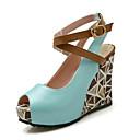 preiswerte Damen Heels-Damen Komfort Schuhe Kunststoff Sommer Sandalen Keilabsatz Grün / Blau / Rosa
