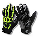 cheap Cycling Underwear & Base Layer-SPAKCT Bike Gloves / Cycling Gloves Mountain Bike MTB Sports Winter Full Finger Gloves Breathable Anti-Shake / Damping Skidproof Skull Green Black / White Cold Weather Superfine fiber Silicone Gel