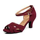 baratos Sapatos de Dança Latina-Mulheres Sapatos de Dança Latina Camurça Salto Recortes Salto Carretel Sapatos de Dança Vermelho Escuro / Verde