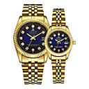ieftine Oțel Inoxidabil-Pentru cupluri Ceas de Mână ceas de aur Quartz Auriu 30 m Calendar Creative Analog Lux Elegant - Auriu