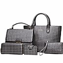 cheap Bag Sets-Women's Bags PU(Polyurethane) Bag Set 5 Pieces Purse Set Embossed Gray / Brown / Wine