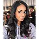 cheap Human Hair Capless Wigs-Human Hair Lace Front Wig Asymmetrical Kardashian style Indian Hair Body Wave Natural Black Wig 130% Density with Baby Hair Natural Best Quality New Arrival Comfortable Natural Natural Black Women's
