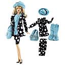 baratos Acessórios de Boneca-Vestidos e Saias / Ternos Saia / Blusa / Tops e Camisas 5 pcs Para Boneca Barbie Black / azul Tecido TNT / Pano Demin 1 Bolsa / Casaco / Blusa Para Menina de Boneca de Brinquedo