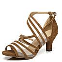 abordables Zapatos de Baile Latino-Mujer Cuero Patentado Zapatos de Baile Latino Corte Tacones Alto Tacón Carrete Negro / Amarillo / Rojo / Rendimiento / Entrenamiento