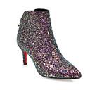 billige Damestøvler-Dame Fashion Boots Mikrofiber / PU Efterår Støvler Stilethæle Lukket Tå Ankelstøvler Hvid / Sort / Lys pink
