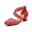 hesapli Modern Dans Ayakkabıları-Kadın's Modern Dans Ayakkabıları Tüylü Sandaletler Hayvan Desenli Kalın Topuk Kişiselleştirilmiş Dans Ayakkabıları Kırmzı
