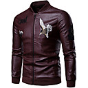 cheap Gaming Laptop-Men's Daily Basic Fall / Winter Regular Leather Jacket, Solid Colored Stand Long Sleeve Spandex Black / Navy Blue / Wine XL / XXL / XXXL