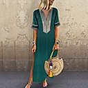 رخيصةأون القمصان وملابس النوم-فستان نسائي كلاسيكي عصري أساسي قطن طويل للأرض فضفاض لون سادة منخفضة V رقبة