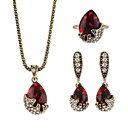 cheap Earrings-Women's AAA Cubic Zirconia Briolette Jewelry Set - Pear Simple, Fashion Include Drop Earrings Pendant Necklace Ring Red For Ceremony Date