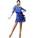 رخيصةأون ملابس رقص لاتيني-الرقص اللاتيني أزياء نسائي أداء ألياف الحليب نموذج / طباعة / شرابة / مفصل منفصل نصف كم ارتفاع منخفض تنانير / بلايز