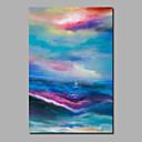 זול ציורים מופשטים-ציור שמן צבוע-Hang מצויר ביד - מופשט L ו-scape עכשווי מודרני כלול מסגרת פנימית / בד מגולגל / בד מתוח