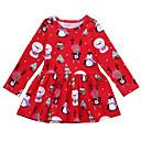 tanie Sukienki dla dziewczynek-Dzieci Dla dziewczynek Aktywny Święta Kreskówki Bez rękawów / Długi rękaw Nad kolano Sukienka Czerwony 100