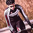 tanie Zestawy koszulek i spodni rowerowych-SANTIC Męskie Długi rękaw Koszulka i spodnie na rower - Czarny / Czerwony Rower Zestawy odzieży, Polarowa podszewka, Keep Warm, Odblaskowe paski, Zima, Elastyna Pasek / Średnio elastyczny