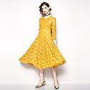 preiswerte Zentai Kostüme-Damen Anspruchsvoll / Elegant Hose - Solide Spitze Hohe Taillenlinie Gelb / Festtage / Ausgehen