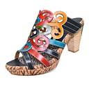 זול נעלים שטוחות לנשים-בגדי ריקוד נשים עור אביב קיץ וינטאג' סנדלים עקב עבה פתוח בבוהן קשת / קולור בלוק