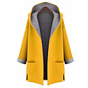 cheap Human Hair Capless Wigs-Women's Going out Street chic Fall Plus Size Long Coat, Solid Colored Hooded Long Sleeve Polyester Red / Yellow XXXL / 4XL / XXXXXL