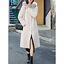 cheap IP Cameras-Women's Daily Street chic Fall & Winter Long Coat, Solid Colored Shirt Collar Long Sleeve Polyester Beige / Camel S / M / L