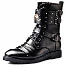 cheap Men's Boots-Men's Fashion Boots Synthetics Fall & Winter Casual / British Boots Keep Warm Mid-Calf Boots Black / Party & Evening