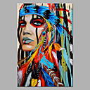 cheap Rolled Canvas Paintings-Oil Painting Hand Painted - Abstract People Classic Modern Rolled Canvas