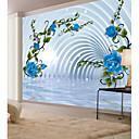 billige Vegglamper-bakgrunns / Veggmaleri Lerret Tapetsering - selvklebende nødvendig Blomstret / Art Deco / 3D