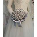 baratos Estolas de Casamento-Bouquets de Noiva Buquês Casamento / Festa de Casamento Pedraria & Cristal / Seda 11-20 cm