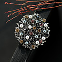 cheap Brooches-Women's AAA Cubic Zirconia Hollow Out Brooches - Pearl Petal Vintage Brooch Silver / Black For Street