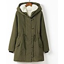 cheap Girls' Dresses-Women's Daily Street chic Solid Colored Plus Size Long Parka, Polyester Long Sleeve Hooded Black / Orange / Army Green XXL / XXXL / 4XL