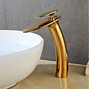 tanie Baterie łazienkowe-Bateria do umywalki łazienkowej - Wodospad Złoty Umieszczona centralnie Jeden uchwyt Jeden otwór