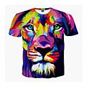 ieftine Neopren, Costume de scafandru & Bluză Protecție-Bărbați Rotund - Mărime Plus Size Tricou Animal Imprimeu Leu / Manșon scurt