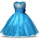 cheap Girls' Dresses-Kids / Toddler Girls' Active / Sweet Daily / Holiday Solid Colored Sequins / Bow / Mesh Sleeveless Above Knee Polyester Dress Light Green 8-9 Years(150cm)