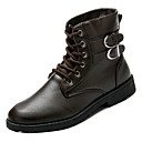cheap Men's Boots-Men's Combat Boots PU(Polyurethane) Winter British Boots Keep Warm Mid-Calf Boots Black / Brown