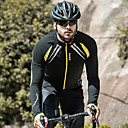 cheap Cycling Pants, Shorts, Tights-SANTIC Men's Cycling Jacket Bike Jacket / Jersey / Top Windproof, Fleece Lining, Breathable Patchwork Spandex, Fleece Winter Yellow / Black Advanced Mountain Cycling Semi-Form Fit Bike Wear Advanced