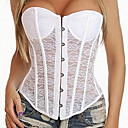 cheap Uniforms Accessories-Cosplay Victorian Vintage Inspired Costume Women's Overbust Corset White / Black Vintage Cosplay Lace Nylon Sleeveless