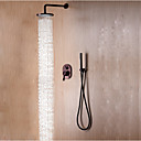cheap Bath Fixtures-Shower Faucet - Contemporary / Simple / Modern Style Oil-rubbed Bronze Wall Mounted Ceramic Valve Bath Shower Mixer Taps / Brass / Single Handle Three Holes