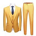 זול אביזרים לגברים-צהוב אחיד גזרה מחוייטת פוליאסטר חליפה - פתוח Single Breasted One-button / חליפות