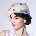 levne Ozdoby do vlasů na večírek-Úžasná paní Maiselová Dámské Dospělé dámy Retro Cloche Hat klobouk Bílá Tisk Organza Doplňky do vlasů Lolita Příslušenství
