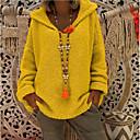 tanie Kurtki motocyklowe-Damskie Codzienny Casual Nadwymiarowe Solidne kolory Długi rękaw Luźna Regularny Pulower, Kaptur Rumiany róż / Żółty / Jasnoszary M / L / XL