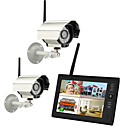 "billige Dørtelefonssystem med video-ny trådløs 4ch quad dvr to kameraer med 7 ""TFT-LCD monitor hjem sikkerhetssystem"