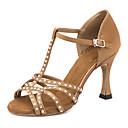 זול נעליים לטיניות-בגדי ריקוד נשים נעלי ריקוד סטן נעליים לטיניות פרטים מקריסטל / נצנוץ סנדלים / נעלי ספורט סלים גבוהה עקב מותאם אישית חום / הצגה / עור / אימון