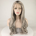 cheap Synthetic Lace Wigs-Synthetic Lace Front Wig Curly Style Free Part Lace Front Wig Dark Gray Grey Synthetic Hair 18-26 inch Women's Adjustable / Lace / Heat Resistant Dark Gray Wig Long 180% Density Natural Wigs