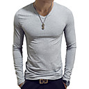 cheap Men's Sneakers-Men's Basic Cotton Slim T-shirt - Solid Colored V Neck Light Blue XL / Long Sleeve / Spring / Fall